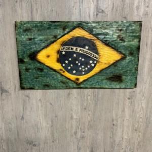Wood Brazil Flag