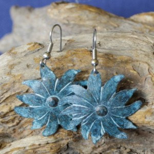 Copper Patina Flower Earrings