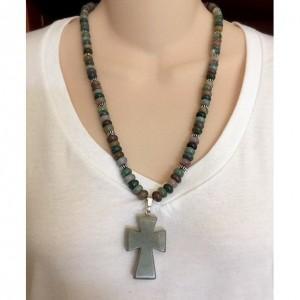 Aventurine Rondelle Beaded Gemstone Necklace with Cross Pendant