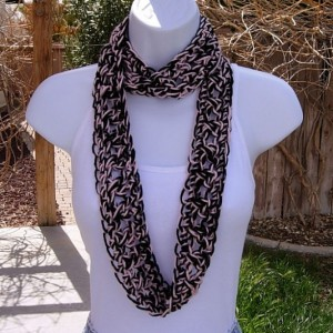SUMMER SCARF Infinity Loop, Black & Light Pink, Soft Small Lightweight Skinny Narrow Cowl, Large Crochet Necklace..Ready to Ship in 2 Days