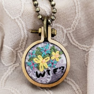 """WTF"" Embroidered Hoop Necklace"
