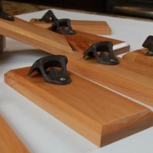 Bottle Opener Magnetic Cap Catcher - Handcrafted Cherry Wood with Antique Bronze Opener - Custom Text/Logo/Design