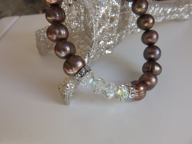 Chocolate Pearls & Sparkle Bracelet in Sterling Silver