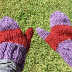 Purple Red Striped Hat and Mitten Set Unisex