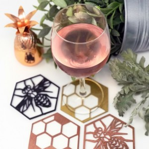 Bee Coasters, Laser Cut Coasters, Wood Coasters, Home Decor, Insect Decor