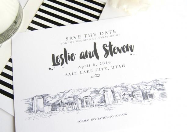 Salt Lake City Skyline LDS Save the Date Cards (set of 25 cards)