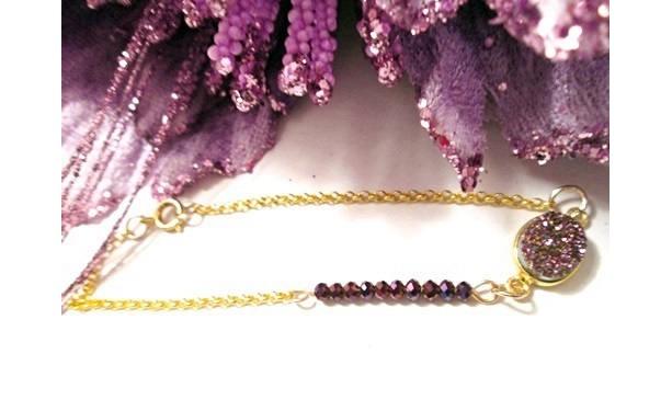 Purple Druzy Crystal Beaded Bracelet, Druzy Grape Agate, Raspberry Crystal Jewelry, Anniversary Gift, Jewelry on Sale, Minimalist Jewelry