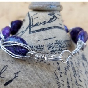Handmade Egyptian Style Rope look Sterling Silver Bracelet with Purple Jasper