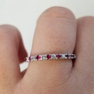 Ruby Ring Half Eternity Band July Birthstone 925 Sterling Silver Ring CZ Wedding Anniversary Engagement Stack Ring Womens Gift For Her