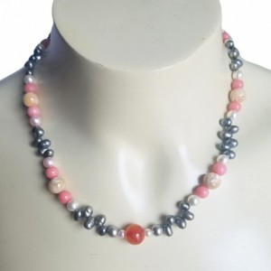 Handmade Morganite Red Kunzite Mother of Pearl Nat Pearls Sterling Silver Princess Necklace