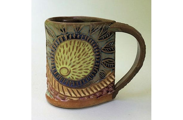 Sunny Day Mug Sun Burst Pottery Mug Coffee Cup Handmade Functinal Tableware Microwave and Dishwasher safe 12 oz