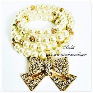 Bowtie Bling Faux Pearl Bracelet
