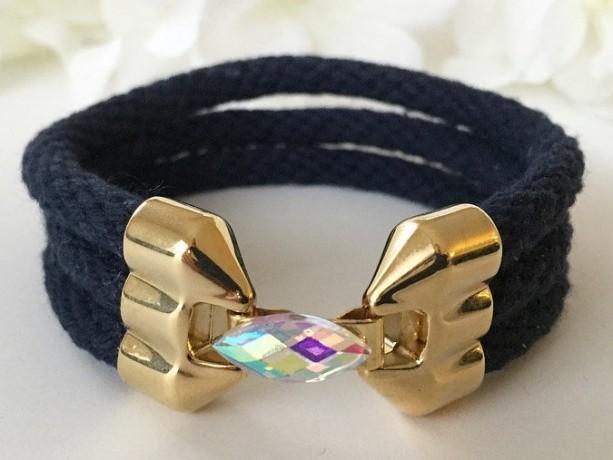 Triple Barrel Navy Blue Rope Bracelet
