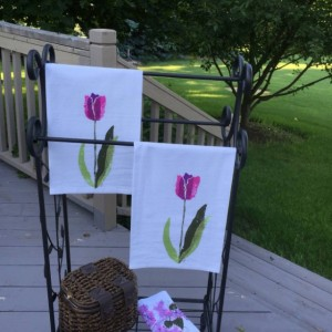 Purple tulip kitchen towel handmade, floral bathroom towel, flour sack dish towel, mothers day from daughter, best selling items, mom gift