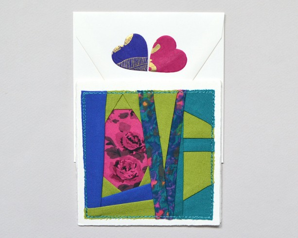 Fabric LOVE card -- handmade patchwork stitched greeting card