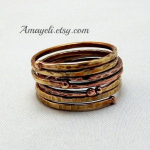 Stackable rings, stacking rings, mixed metal rings, copper brass rings, mix match rings made to size custom made