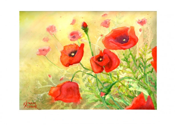 Sunlit Poppies print from original watercolor painting, 8x10