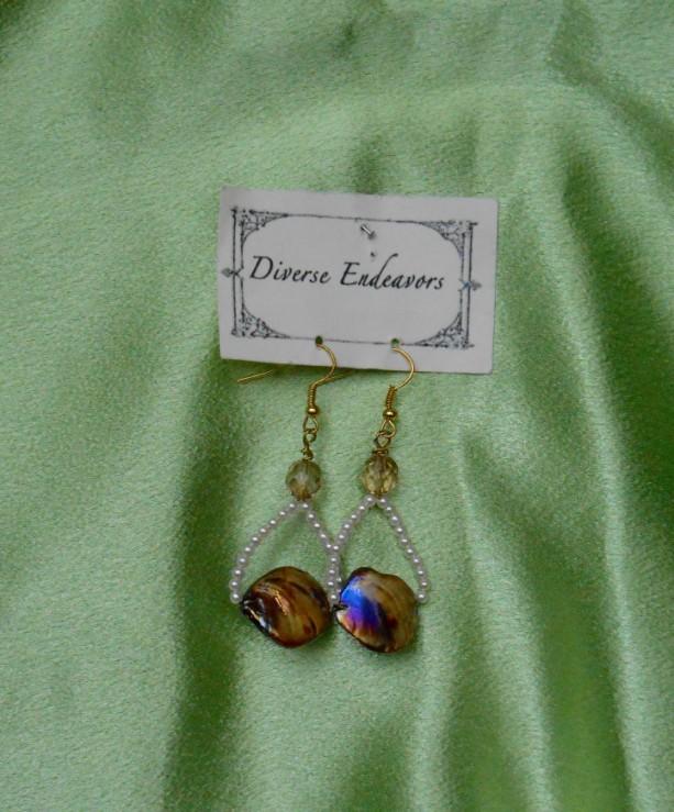 Brown Aurora Borealis Mother of Pearl Earrings