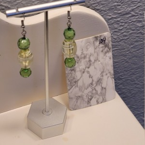 Green bead with white coloring earrings