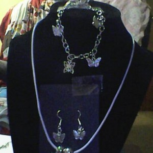 Homemade Butterfly Jewelry Set Ring, Necklace,  Charm Bracelet, Earrings Silver in Color