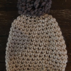 Cream Grey Puffball Beanie