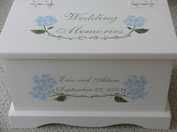 Hydrangea Wedding Keepsake Chest Box personalized wedding gift