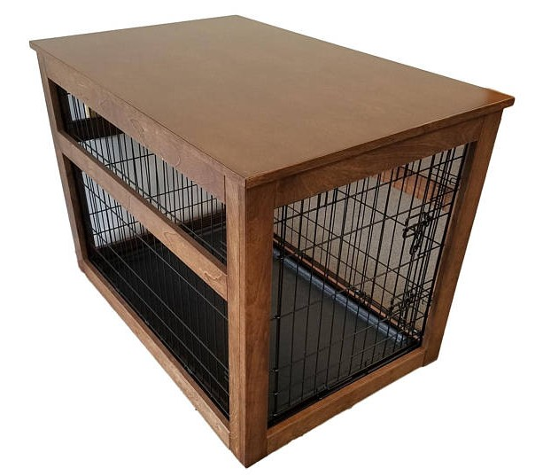 Medium Wooden Cover for Wire Crate for Dog or Cat, End Table, Night Stand, Made in USA, Choice of Stain