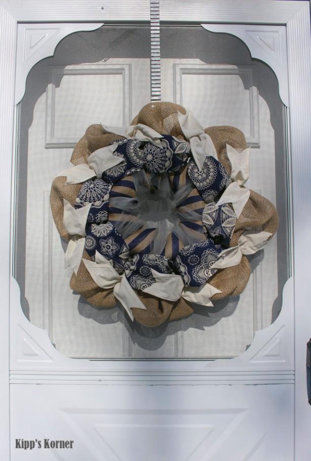 Navy Blue Burlap Wreath Ribbon Wreath Batik Fabric Door