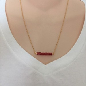Bar Pendant Rondelle Beads Necklace, Dainty Beads Necklace, Other Colors