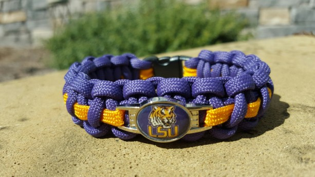 LSU Tigers Paracord Bracelet NCCA Officially Licensed Charm