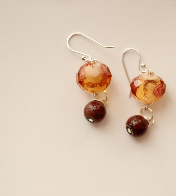 A Rose Petal Autumn Earrings (sterling)