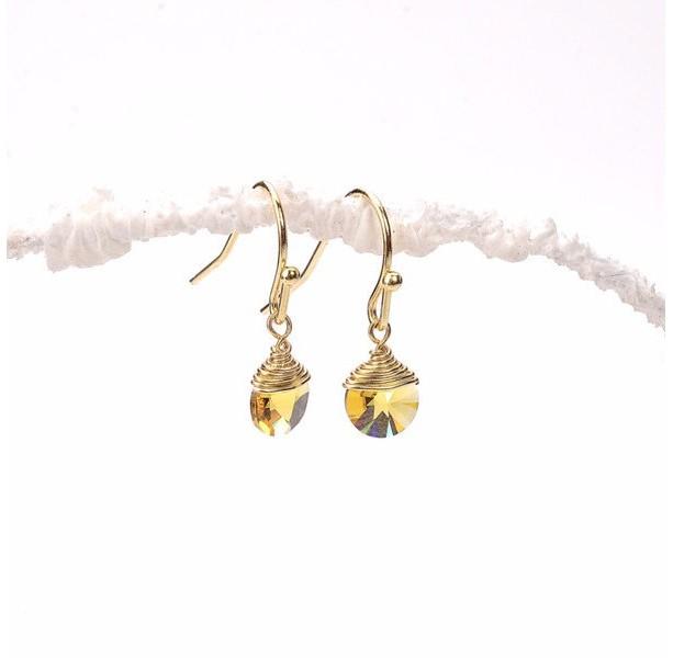 Tiny Citrine Swarovski Disc Earrings, Citrine Swarovski Disc Earrings, Yellow Swarovski Earrings