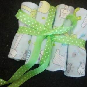Aqua and Elephants Burp Cloths
