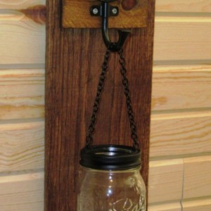 Rustic Mason Jar Wall Sconce,  Mason Jar Candle Holder, Wall Sconce with chevron design hook
