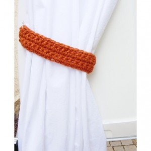 One Pair of Solid Bright Pumpkin Orange Curtain Tie Backs, Crochet Drapery Tiebacks for Drapes, Modern Holdbacks, Ready to Ship in 3 Days