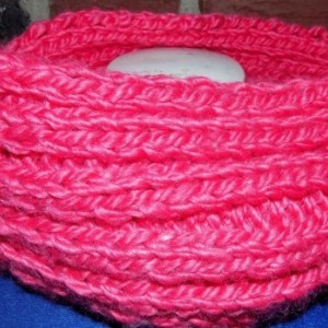 Neon Hot Pink Knit Infinity Scarf