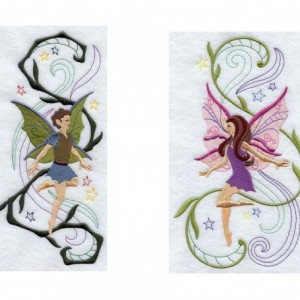 6 piece Set BATH towels - fairies / fairy boy and girl - fantasy home decor his and hers fairy bathroom fairy decor fantasy bathroom