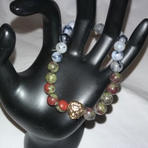 Dragon Blood & Dragon Vein Gemstones w/Lava Stone Diffuser Mens Bracelet