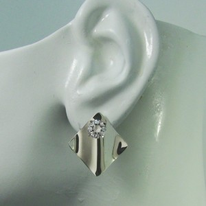Earring Jackets for Studs Sterling Silver Dangle Ear Jackets Gemstone Enhancer Diamond Wave Smooth JWAVESSSM