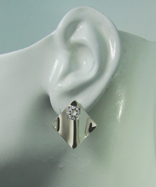 Earring Jackets For Studs Sterling Silver Dangle Ear Gemstone Enhancer Diamond Wave Smooth Jwavesssm