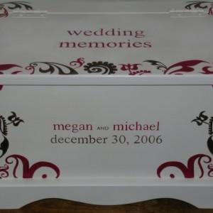 Wedding Keepsake Box Memory Chest personalized  -Modern Fleur wedding gift