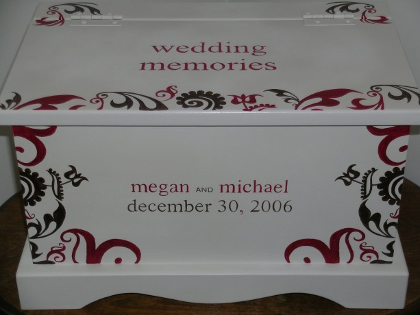 Wedding Keepsake Box Memory Chest personalized  -Modern Fleur wedding gift