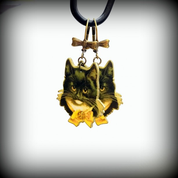 Vintage Cat Earrings -  Free Shipping