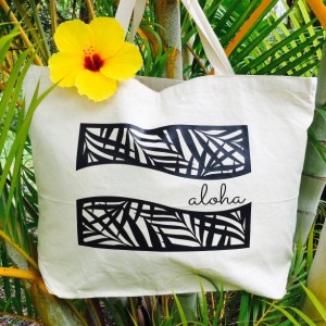 Aloha Palm Tote ~ Palm Frond Aloha Tote ~ Hawaii Tote ~ Canvas Tote ~ Tropical Leaf Tote ~ Hawaii Beach Bag