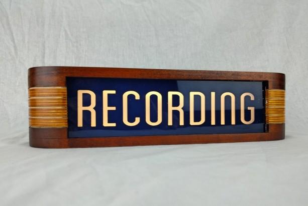 Recording studio warning sign - Blue/Vintage Cherry finish