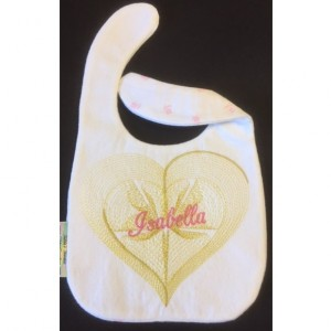 Personalized Golden Swirly Heart bib
