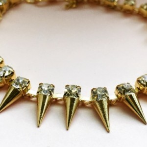 Spiked Bracelet with Diamonds, Golden Bracelet