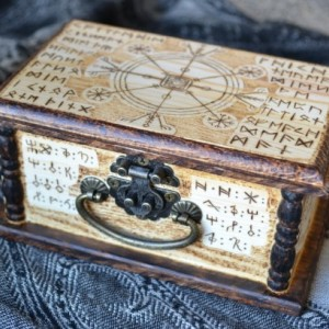 Protective Pagan Viking Stave Rune Box - Pine Wood Box - Pyrogaphy Woodburn