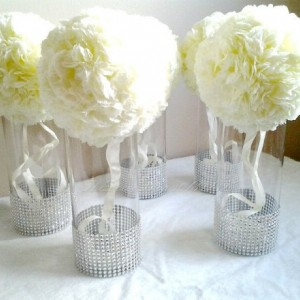 Centerpiece Cylinder Vase Lot Silver Bling Rhinestone Diamond Crystal Elegant Wedding Party Vases 5 Pc Lot