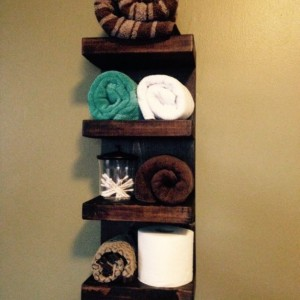 "FREE SHIPPING  Rustic Design Wood 4-Tier Shelf Hotel Style Towel Rack - 9 1/4""W x 22""H - Custom Finish Avail"